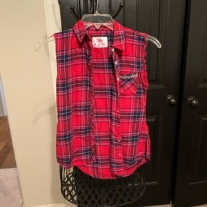 Justice | Sleeveless Flannel top | 8 | Destroyed